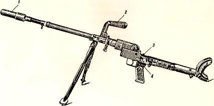 Рис.33. Общий вид гранатомета GzB-39: 1 — мортирка; 2 — рукоятка для переноски; 3 — флажок предохранителя; 4 — спусковая рама с рукояткой.