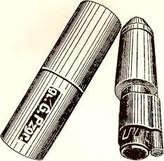 Рис.38. Большая ружейная бронебойная граната Gr.G.Pz.gr. (укупорка, общий вид, разрез): 1 — баллистический колпак (наконечник); 2 — диафрагма; 3 — кумулятивная воронка; 4 — корпус; 5 — разрывной заряд (ТНТ); 6 — дополнительный детонатор (ТЭН); 7 — бумажная прокладка; 8 — детонатор; 9 — изоляционная лента; 10 — капсюль-детонатор; 11 — бумажные прокладки; 12 — втулка; 13 — капсюль-воспламенитель; 14 — стебель; 15 — ленточная пружина; 16 — ударник с жалом; 17 — предохранительная пружина; 18 — дно; 19 — шайба; 20 — жесткий предохранитель; 21 — инерционное кольцо; 22 — опорная шайба.