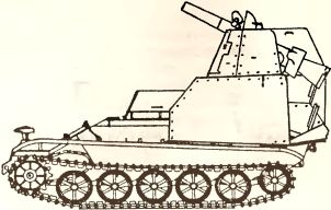 Рис.46. Эскиз макета САУ со 105-мм безоткатным орудием на базе дистанционно управляемой саперной машины BIV (1945 год).