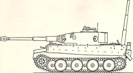 Рис.59. Тяжелый танк PzKpfw VI Ausf. Н ранних серий, оборудованный системой вождения под водой.