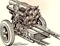 Рис.76. 150-мм реактивный миномет NbWif 41 в походном положении.