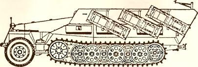 Рис.79. Пусковые установки 280/320-мм реактивных снарядов на бронетранспортере Sd.Kfz. 251/1 Ausf. D.