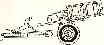 Рис.81. Пусковая установка 280/320-мм реактивных снарядов на лафете 105-мм гаубицы leFH 18.
