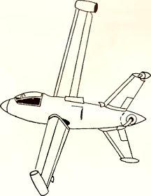 Рис.129. Эскиз проекта самолета с вертикальным взлетом и посадкой.