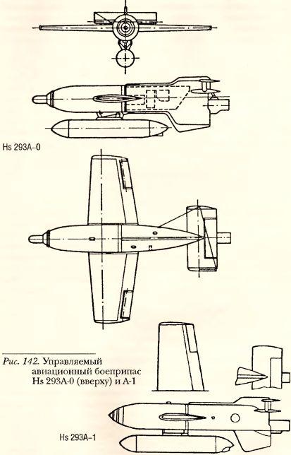 Рис.142. Управляемый авиационный боеприпас Hs 293А-0 (вверху) и А-1.