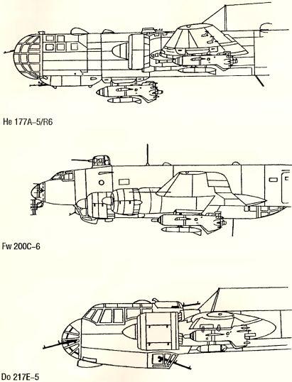 Рис.143. Подвеска управляемых бомб Hs 293А различных модификаций на боевые самолеты.