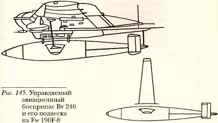 Рис.145. Управляемый авиационный боеприпас Bv 246 и его подвеска на Fw 190F-8.