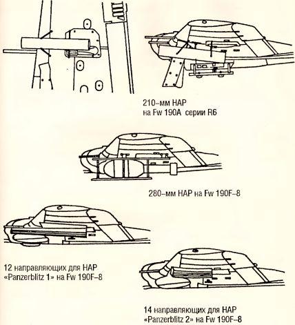 Рис.148. Варианты ракетного вооружения истребителей Fw 190A-8/F-8.