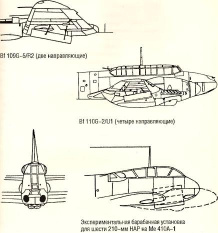 Рис.150. Подвеска 210-мм НАР на боевых самолетах.
