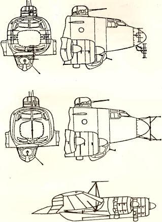 Рис.165. Антенны PЛC на морском бомбардировщике Fw 20C-4 (сверху FuG 200, снизу FuG 217).