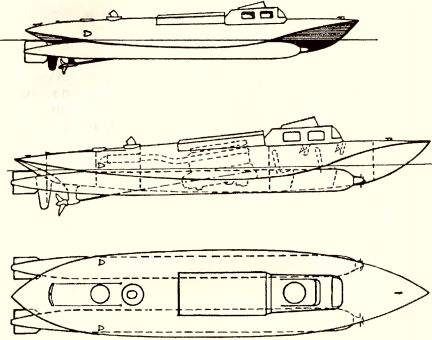 Рис.184. Сверхмалый торпедный катер типа «Schlitten II» (эскиз).