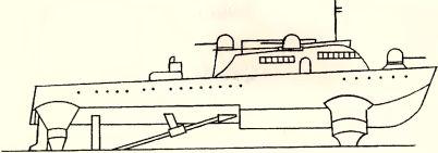 Рис.187. Танкодесантный катер VS 8 (эскиз).