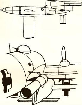 Рис.188. Самолет-снаряд Fi 103 (VI) и его подвеска к бомбардировщику Не 111Н-22.