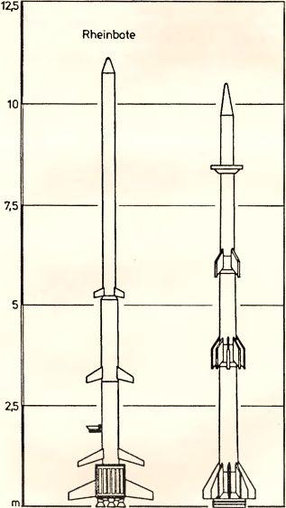 Рис.189. Неуправляемые оперативно-тактические ракеты (слева «Rheinbote», справа проект трехступенчатой ракеты).