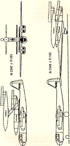 Рис.190. Варианты доставки ракеты Fi 103 (VI) бомбардировщиком Ar 234С.