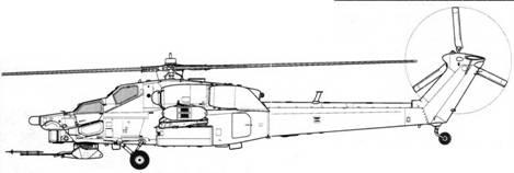 Первый образец Ми-28А в первоначальном виде с трехлопастным хвостовым винтом (бортовой № 032)