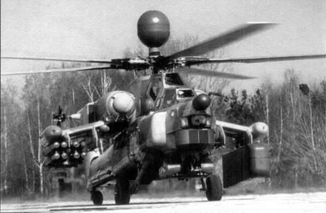 Первый опытный образец Ми-28Н в демонстрационном полете с макетом РЛС