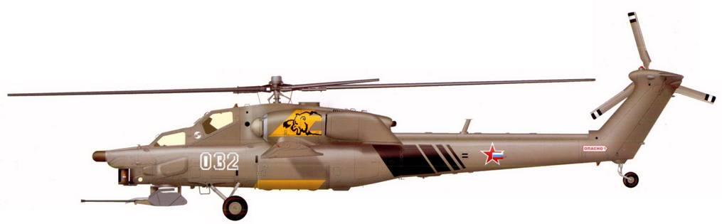 Первый опытный образец Ми-28А в первоначальном виде с трёхлопастным хвостовым винтом, авиасалон МАКС-1999, г.Жуковский, 1999 г.