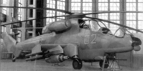Полноразмерный макет «изделия 280» с хвостовым винтом. Носовая часть вертолета явно сохраняет «фамильные черты» Ми-24
