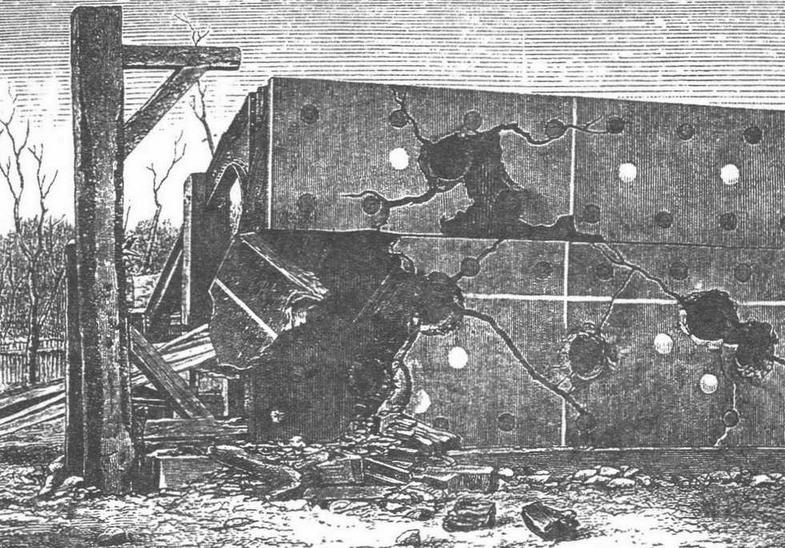 Испытания броневых плит на одном из артиллерийских полигонов германского флота. С гравюры того времени.