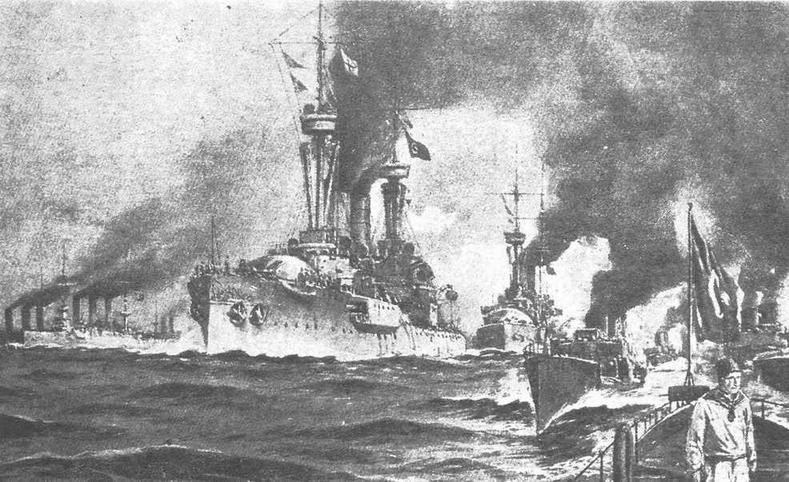 """Броненосцы ''Курфюрст Фридрих Вильгельм"""" и """"Вейсенбург"""" прибыли в Турцию. С открытки того времени."""