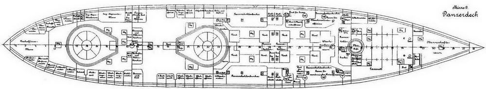 """Броненосцы типа """"Бранденбург"""" (Продольный разрез, схема бронирования, вид сверху и планы верхней, батарейной и броневой палуб)"""