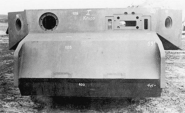 Бронекорпус танка VK 4501 (P) подготовленный для испытаний обстрелом.