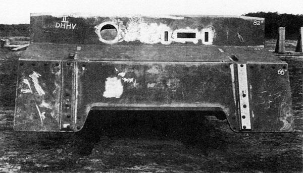 Бронекорпус танка VK 4501 (H) перед испытаниями обстрелом.