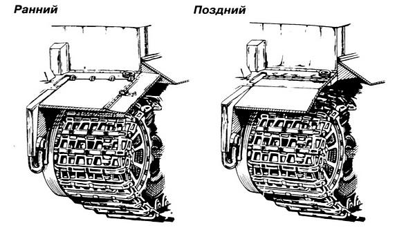 Варианты грязевых щитков танка «Тигр».