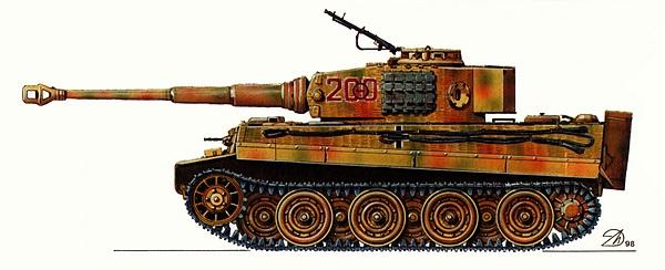 Pz.VI Tiger Ausf.E. 101-й тяжёлый танковый батальон СС, Франция, Виллер-Бокаж, июнь 1944 года. Танк командира 2-й роты оберштурмфюрера СС М.Виттмана.