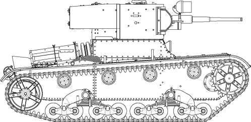 Линейный танк Т-26 выпуска 1934 года с клепаным корпусом. Машина имеет лючок для доступа к трансмиссии (в верхнем переднем листе), фары боевого света, выхлопная труба опущена вниз (по сравнению с танками выпуска1931–1933 годов).