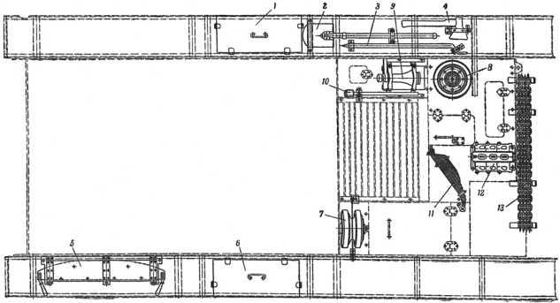 Вариант укладки ЗИП на корпусе танка Т-26 выпуска1935–1937 годов(из книги «Танк Т-26.Руководство службы» издания1940 года).