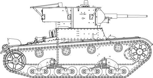 Радийный танк выпуска 1935 года. Машина имеет клепаный корпус, бронировку передней фары, выдвинутую вперед рубку механика-водителя, увеличенный люк для доступа к трансмиссии, измененную конструкцию надмоторных люков и штампованную маску пушки.