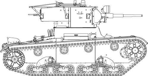 Радийный танк Т-26 выпуска конца 1936–1937 годов. Машина имеет сварной корпус, новую конструкцию щитка механика водителя с защитой петель, измененную укладку ЗИП, звуковой сигнал новой конструкции, штампованную маску пушки, люк в башне для установки турелиП-40, фары боевого света, пулеметную установку в нише башни, новые опорные катки со съемными бандажами, и усиленный ленивец.