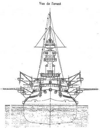 """Броненосец """"Жорегибери"""". 1893 г. (Вид с кормы и носа)"""