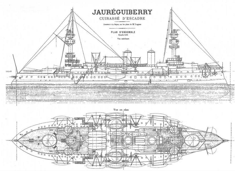 """Броненосец """"Жорегибери """". 1893 г. (Наружный вид и вид сверху)"""