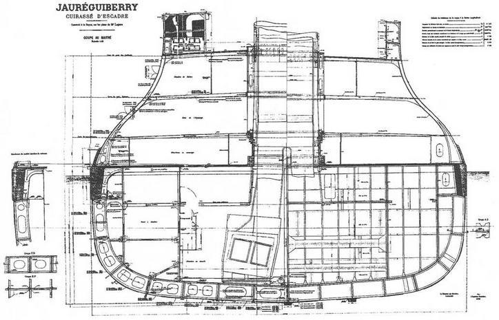 """Броненосец """"Жорегибери"""". 1893 г. (Конструктивный чертеж мидель шпангоута и детали конструкции корпуса)"""