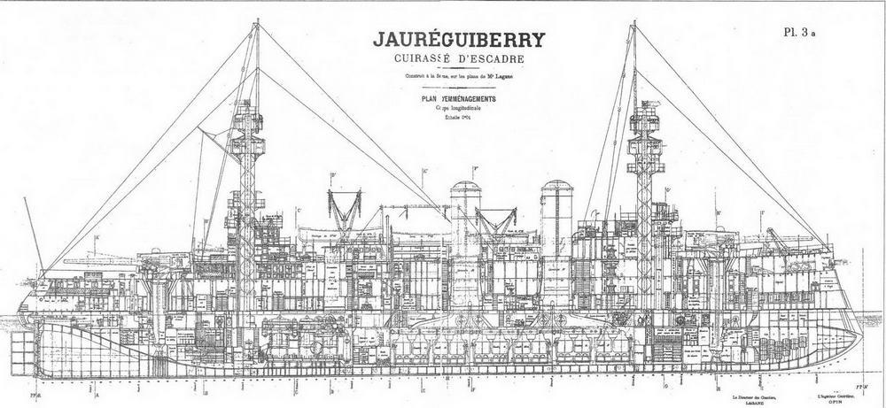 """Броненосец """"Жорегибери """". 1893 г. (Продольный разрез) FORGES ЕТ CHANTIERS DE LA MEDITERRANEE"""