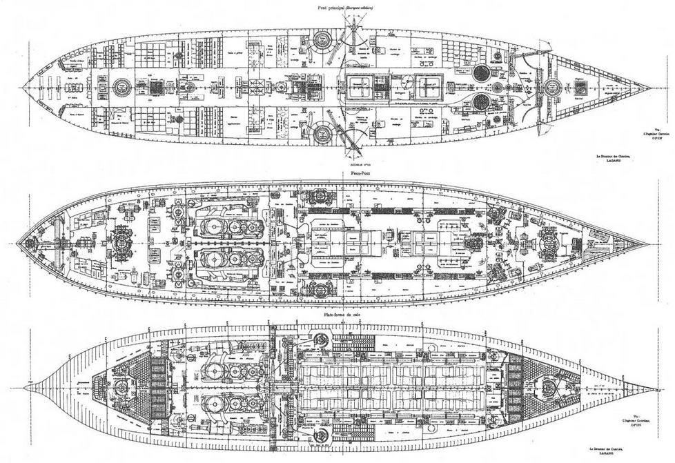 """Броненосец """"Жорегибери """". 1893 г. (Планы палуб)"""