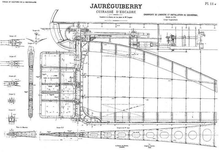 """Броненосец """"Жорегибери"""". 1893 г. (Продольный разрез корпуса, детали конструкции руля и план трюма в районе ахтерштевня)"""