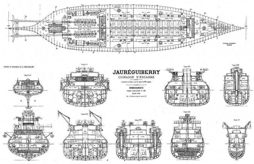 """Броненосец """"Жорегибери"""". 1893 г. (План трюма и поперечные сечения корпуса)"""