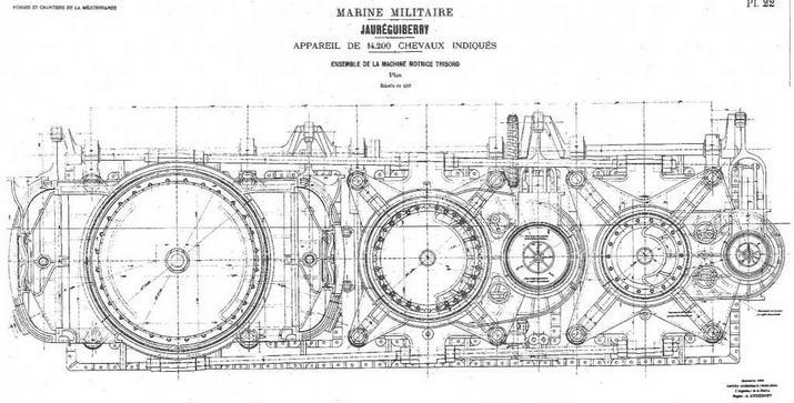 """Броненосец """"Жорегибери """". 1893 г. (Продольный разрез и вид сверху главной паровой машины)"""