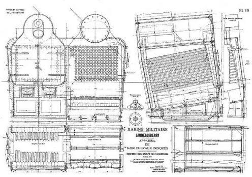 "Броненосец ""Жорегибери"". 1893 г. (Чертеж устройства главного парового котла)"