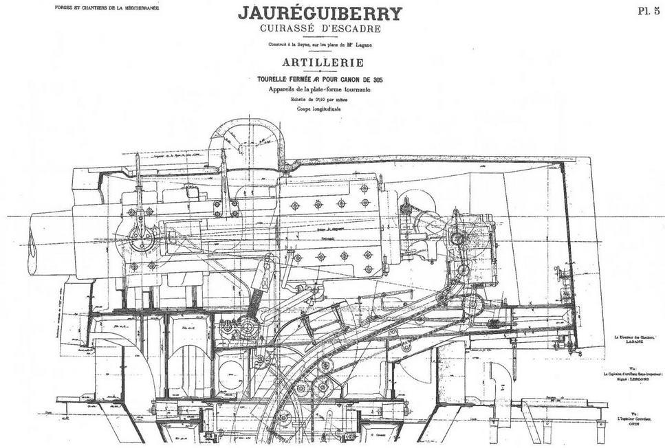 """Броненосец """"Жорегибери"""". 1893 г. (Продольный разрез 305-мм орудийной башни)"""