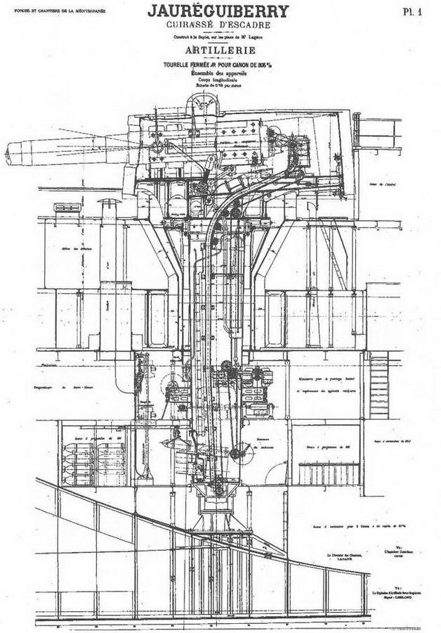 """Броненосец """".Жорегибери """". 1893 г. (Продольный разрез корпуса в районе 305-мм орудийной башни)"""