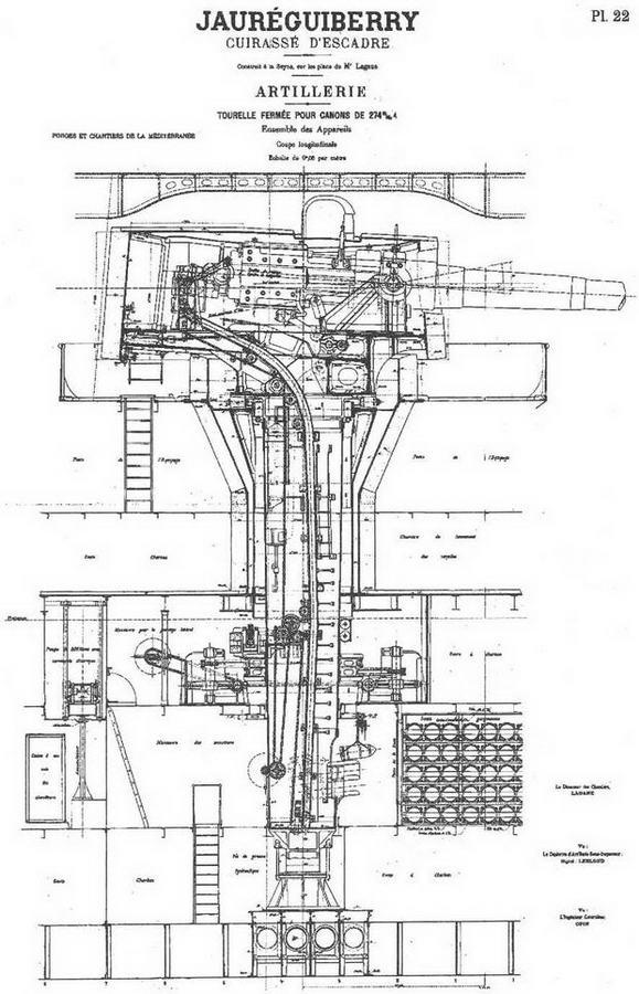"""Броненосец """"Жорегибери"""". 1893 г. (Продольный разрез корпуса в районе 274-мм орудийной башни)"""
