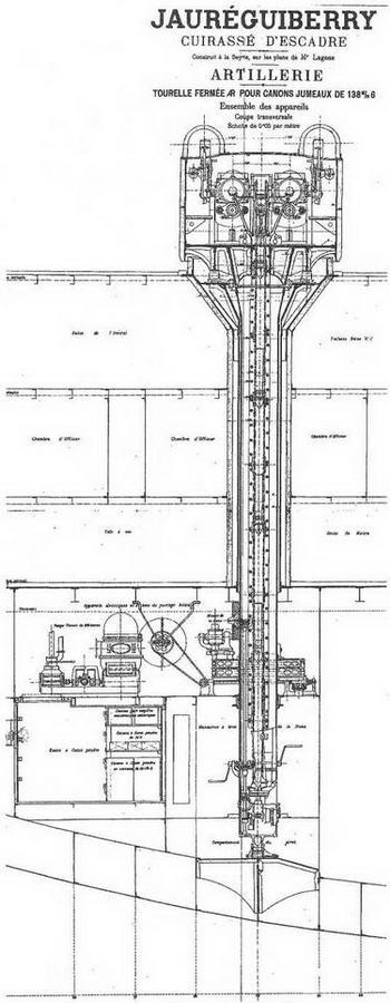 """Броненосец """".Жорегибери """". 1893 г. (Продольный разрез корпуса и поперечное сечение 138,6-мм орудийной башни)"""