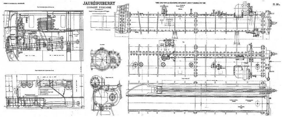 """Броненосец """"Жорегибери """". 1893 г. (Чертеж торпедного аппарата, схема его расположения и размещения торпед в торпедном отделении)"""