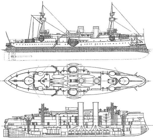 """Броненосец """"Жорегибери """". Проект, 1890 г. (Наружный вид, вид сверху и продольный разрез)"""