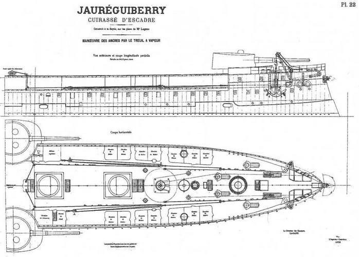"""Броненосец """"Жорегибери"""". 1893 г. (Продольный разрез корпуса и план носовой части с указанием расположения якорного устройства)"""